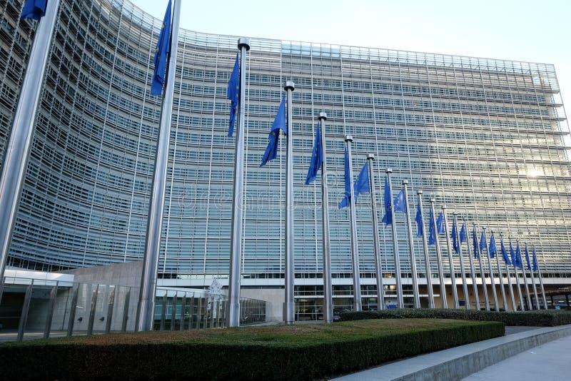 Bandeiras européias em Bruxelas fotografia de stock