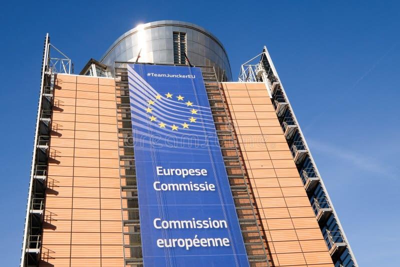 Bandeiras européias em Bruxelas fotos de stock