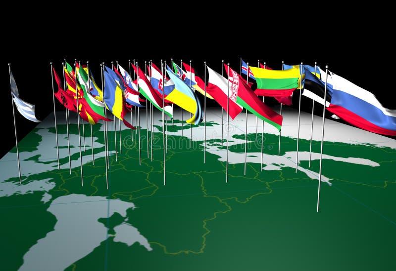 Bandeiras européias no mapa (vista do leste) ilustração royalty free