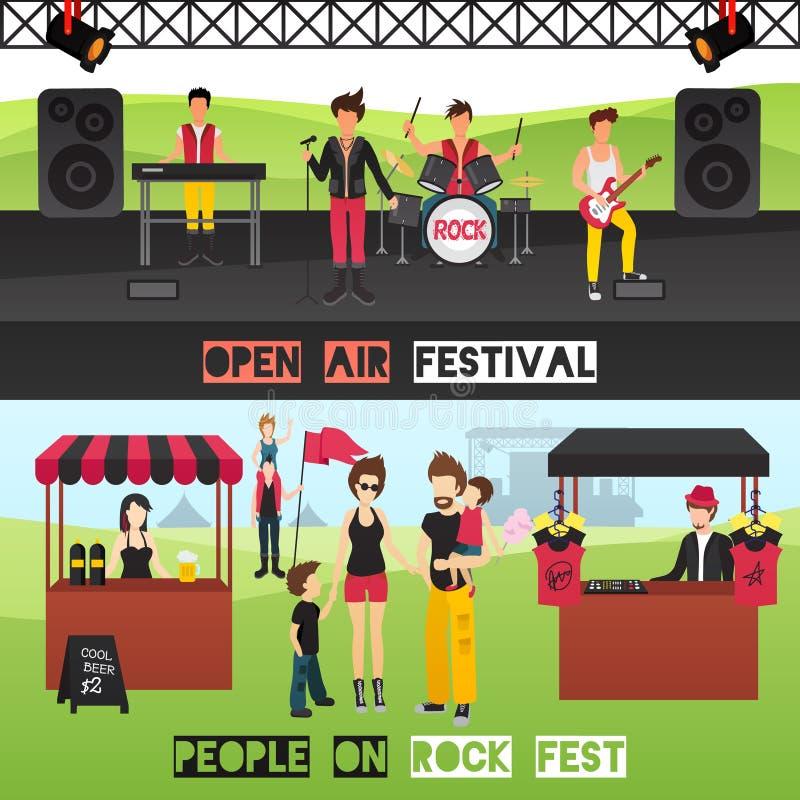 Bandeiras exteriores do festival ajustadas ilustração stock