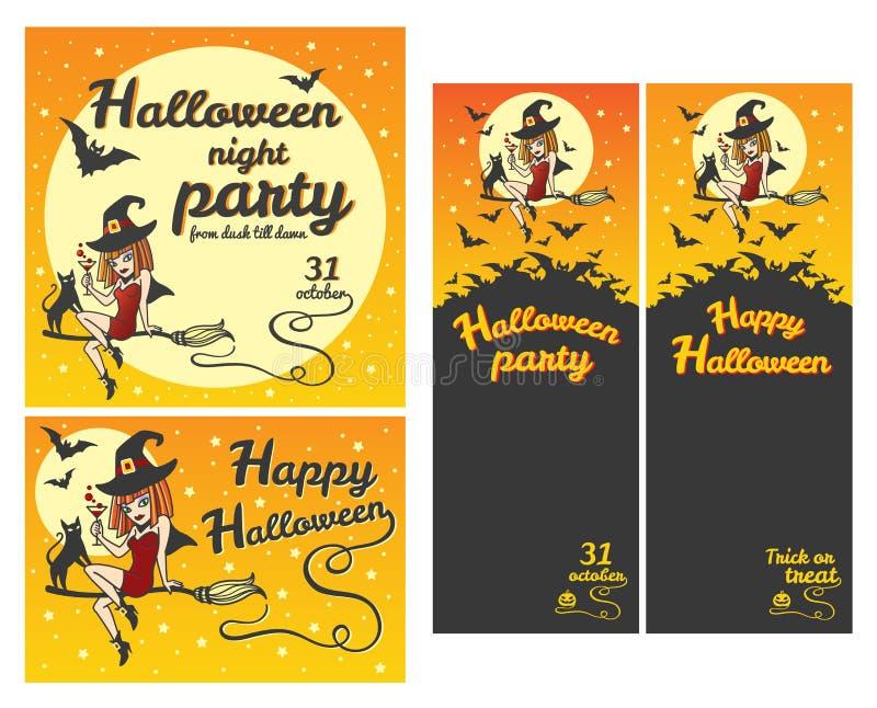 Bandeiras felizes de Dia das Bruxas, convites do partido, grupo de cartão ilustração do vetor