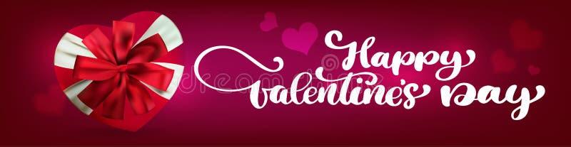 Bandeiras felizes do dia de Valentim da escrita do texto Coração realístico brilhante do presente em um fundo vermelho ilustração stock