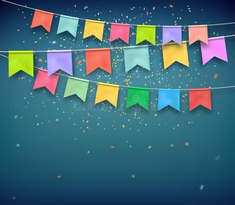 Bandeiras festivas com confetes Festão, partido da celebração ilustração do vetor