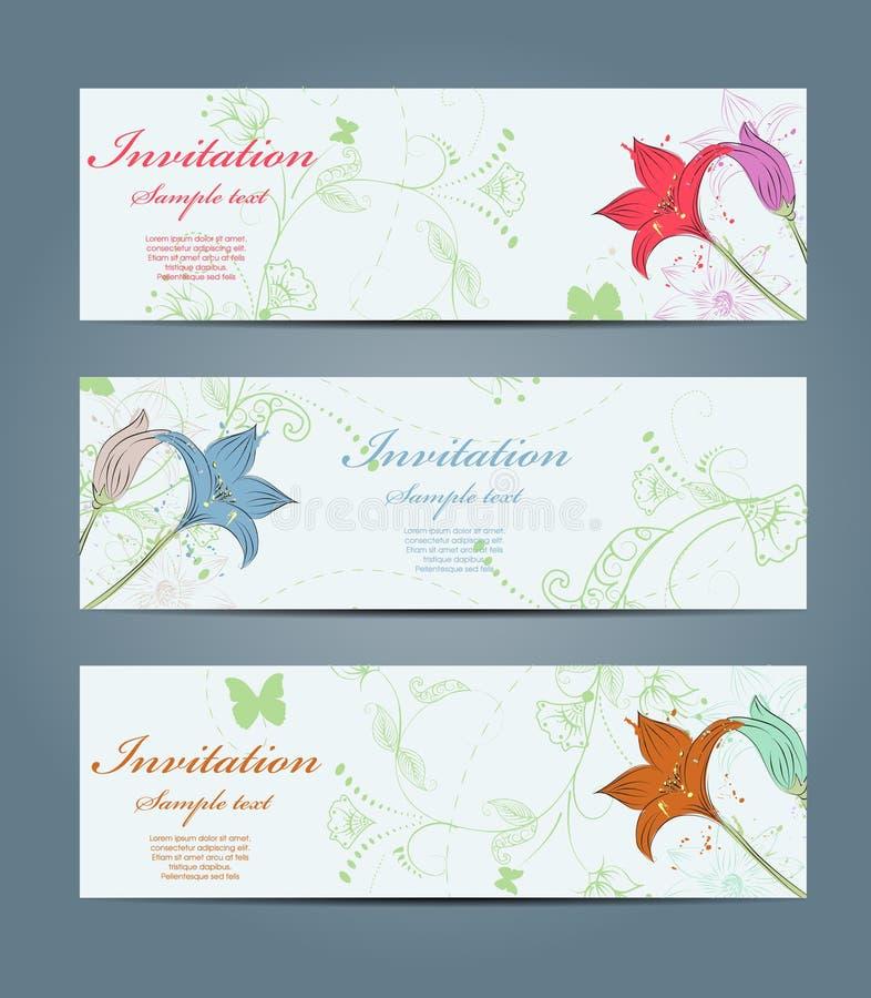 Bandeiras florais ilustração do vetor