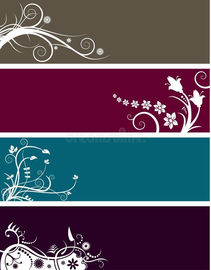 Bandeiras florais   ilustração stock