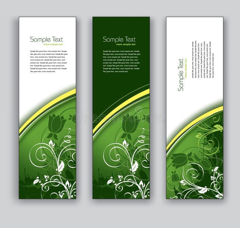 Bandeiras florais abstratas. Fundos do vetor Eps10. ilustração stock