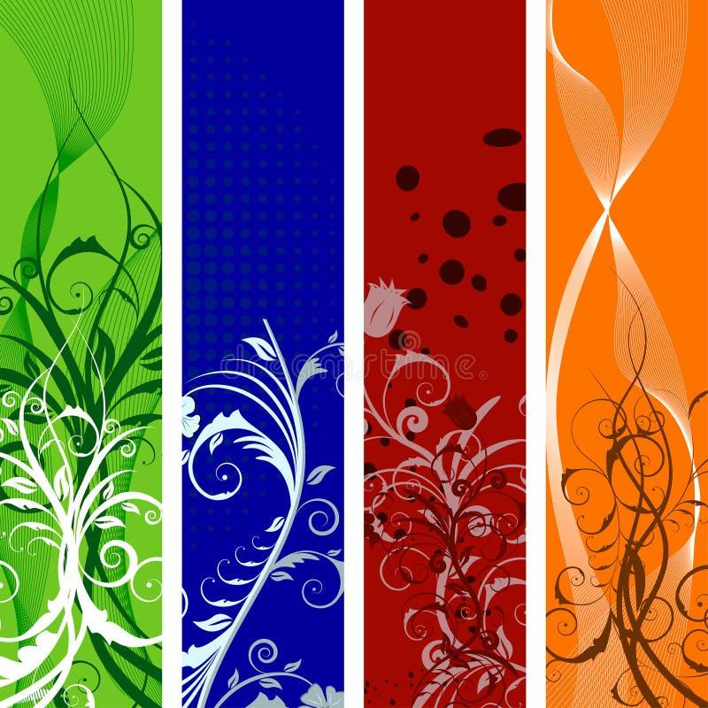 Bandeiras florais ajustadas ilustração do vetor