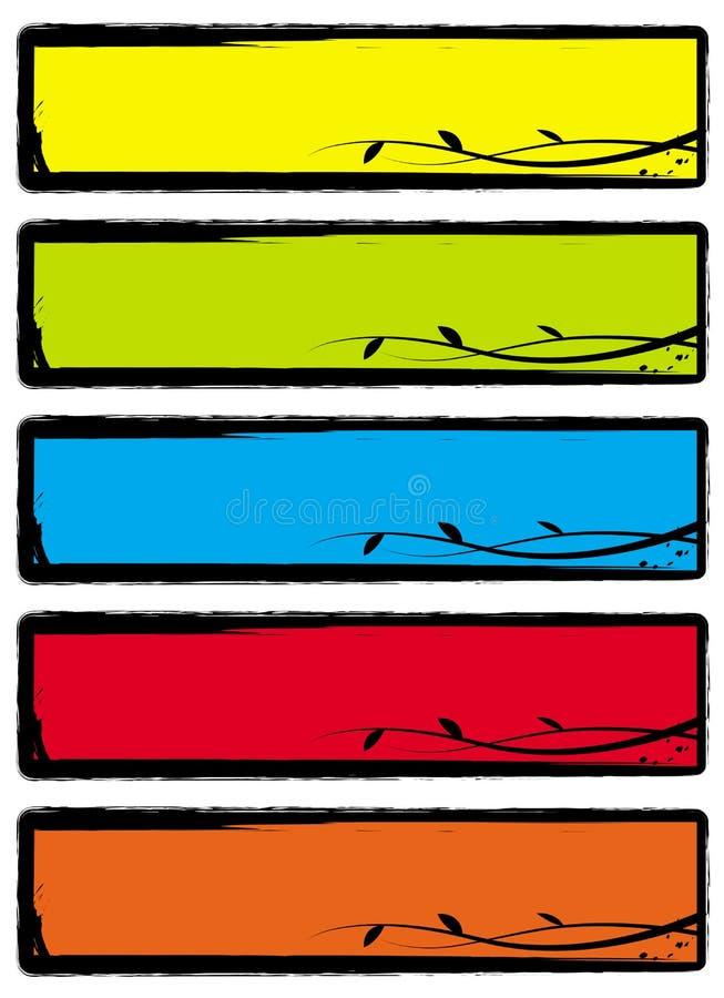 Bandeiras florais de Grunge ilustração do vetor