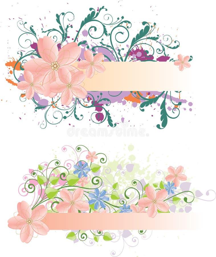 Bandeiras florais de Grunge ilustração stock
