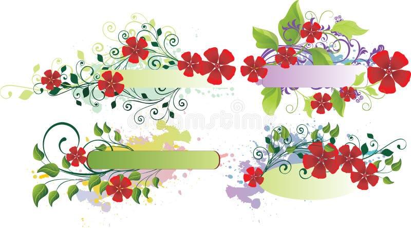 Bandeiras florais de Grunge ilustração royalty free