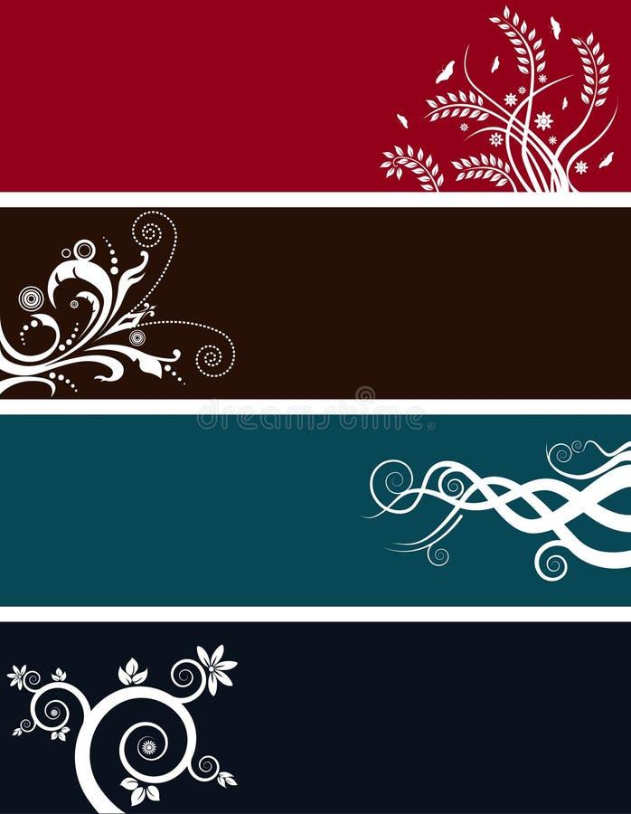 Bandeiras florais do fundo ilustração stock