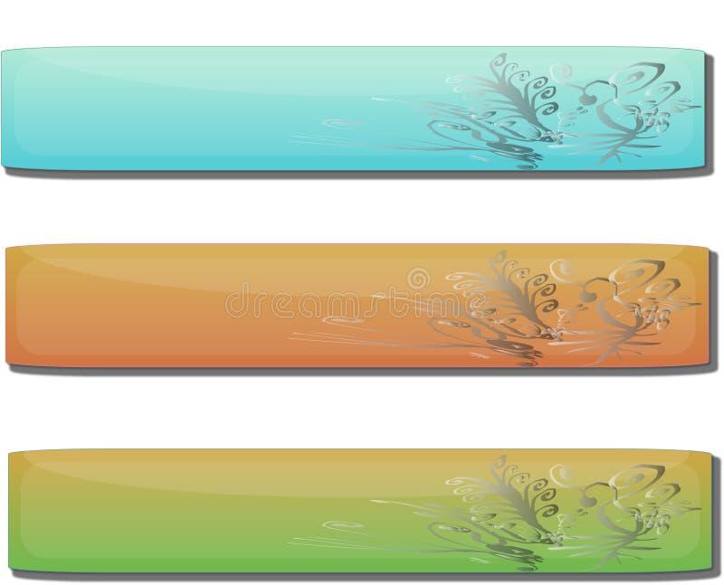 Bandeiras florais do gel lustroso ilustração stock