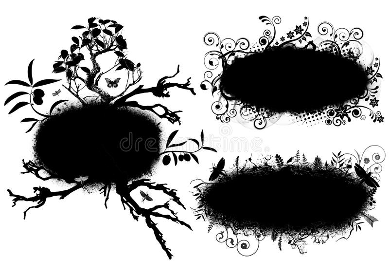 Bandeiras florais do grunge ilustração stock