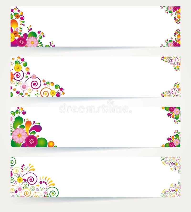 Bandeiras florais do projeto. ilustração do vetor
