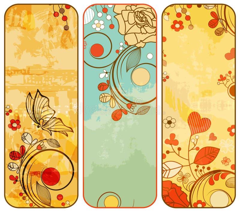 Bandeiras florais do vintage ilustração royalty free
