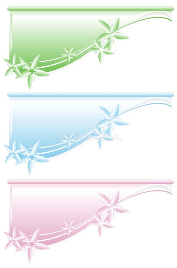 Bandeiras florais do Web ilustração do vetor