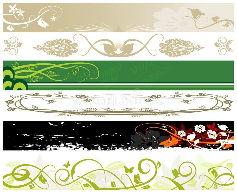 Bandeiras florais do Web site ilustração royalty free