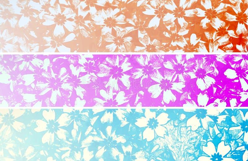 Bandeiras florais retros ilustração do vetor