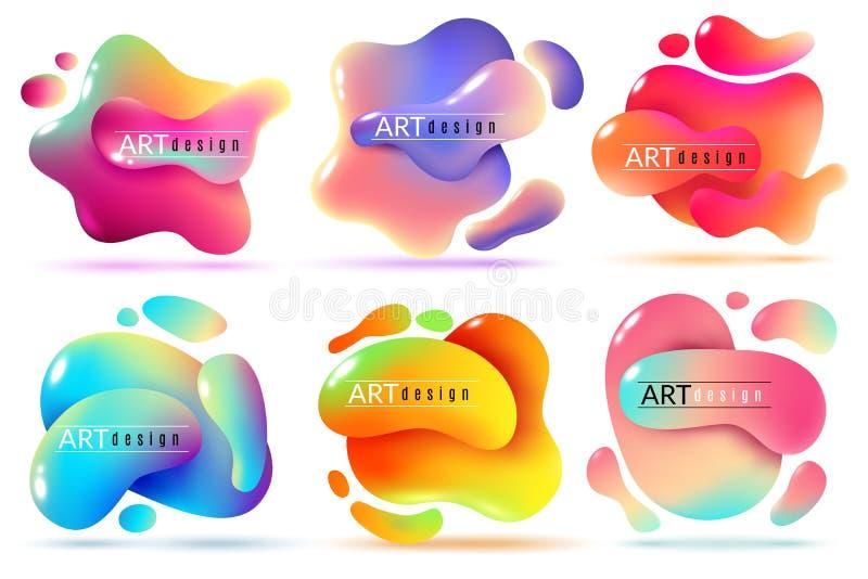 Bandeiras fluidas da forma As formas líquidas abstraem elementos do fluxo da cor pintam etiquetas criativas modernas da textura  ilustração do vetor