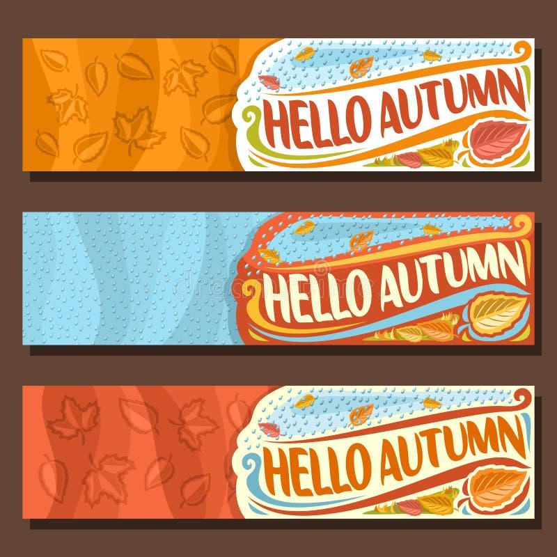 Bandeiras horizontais ajustadas do vetor para a estação do outono ilustração do vetor