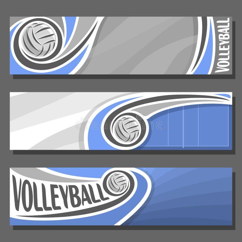 Bandeiras horizontais ajustadas do vetor para o voleibol ilustração royalty free