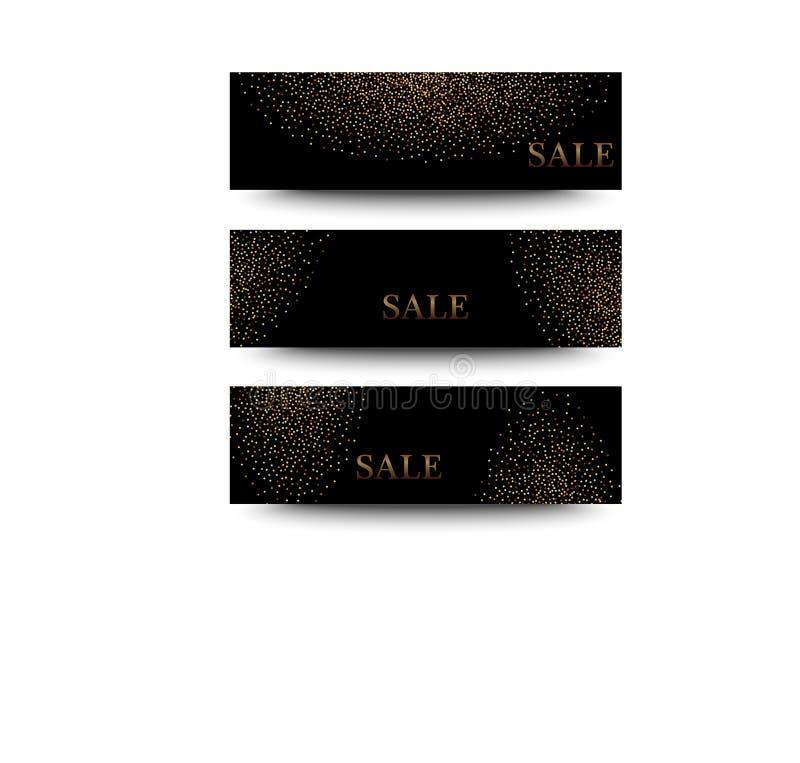 Bandeiras horizontais ajustadas, projeto do preto e do ouro de cartão Poeira dourada ilustração stock