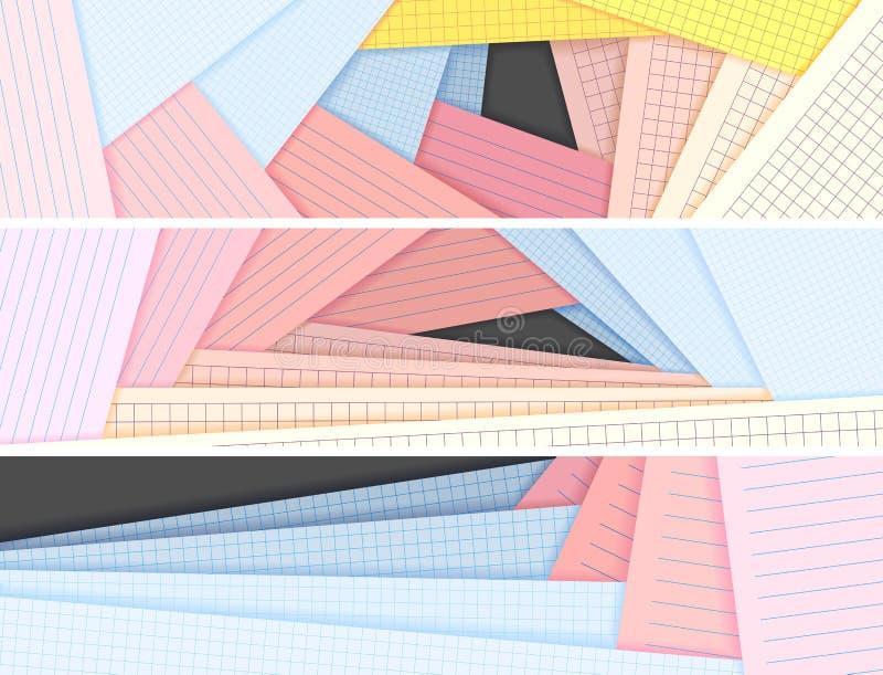 Bandeiras horizontais alinhadas e mentira esquadrada do papel colorido em cada o ilustração royalty free