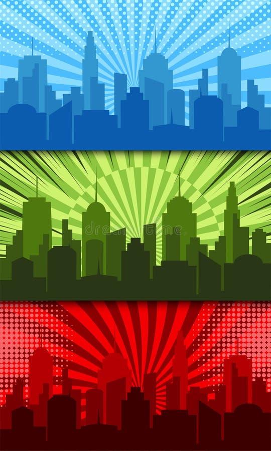 Bandeiras horizontais brilhantes cômicas ilustração stock