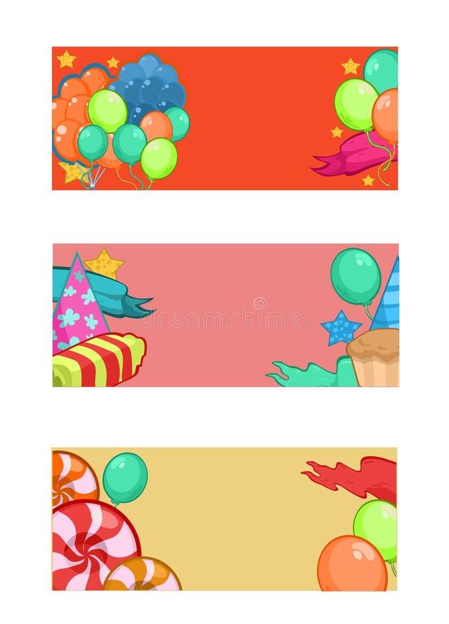 Bandeiras horizontais coloridas do feliz aniversario ilustração royalty free