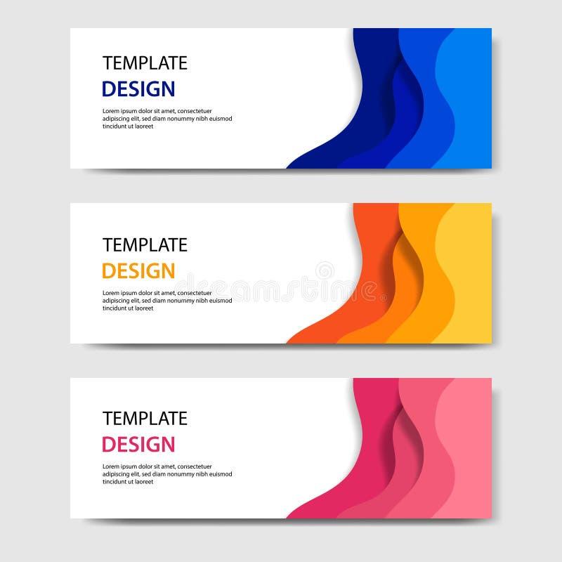 Bandeiras horizontais com estilo cortado de papel do sumário 3D Disposição de projeto para a Web, bandeira do vetor, encabeçament ilustração do vetor