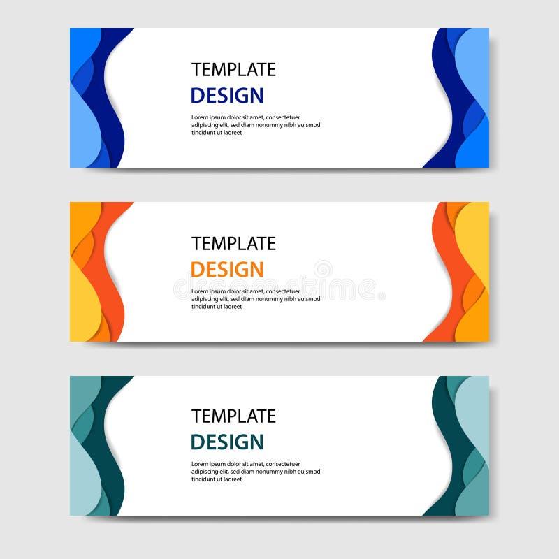 Bandeiras horizontais com estilo cortado de papel do sumário 3D Disposição de projeto para a Web, bandeira do vetor, encabeçament ilustração royalty free