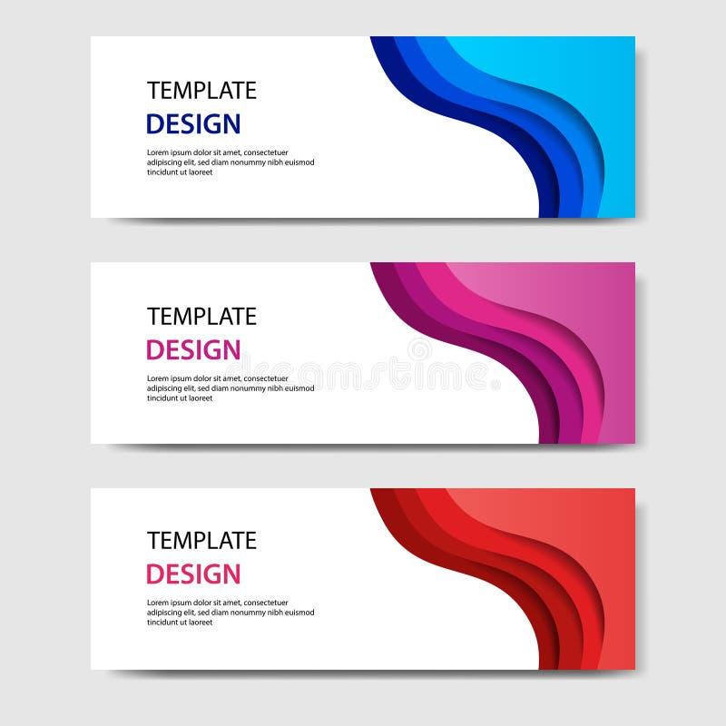 Bandeiras horizontais com estilo cortado de papel do sumário 3D Disposição de projeto para a Web, bandeira do vetor, encabeçament ilustração stock