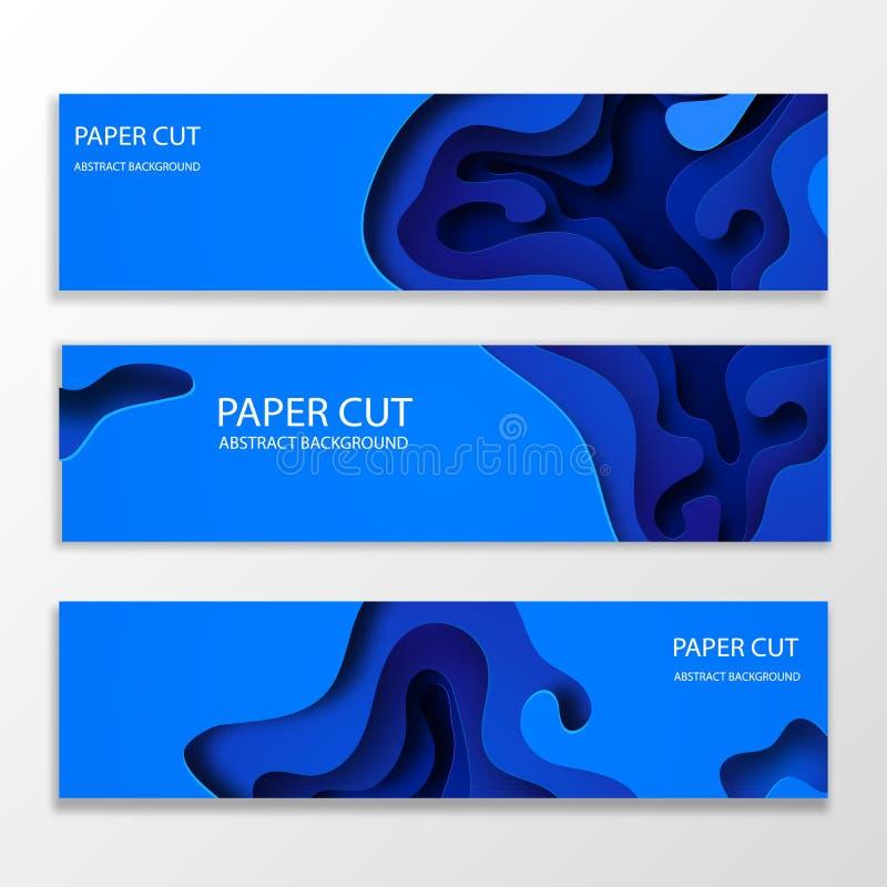 Bandeiras horizontais com fundo 3D azul abstrato com formas cortadas de papel Disposição de projeto do vetor para o negócio ilustração royalty free