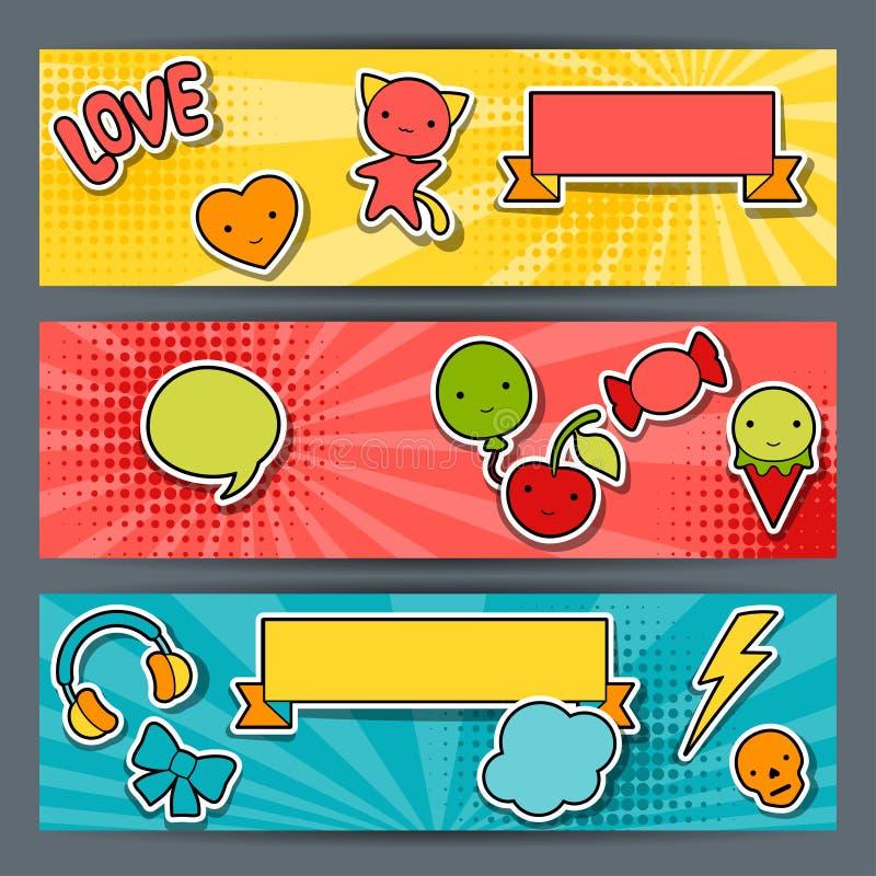 Bandeiras horizontais com garatujas do kawaii da etiqueta ilustração stock