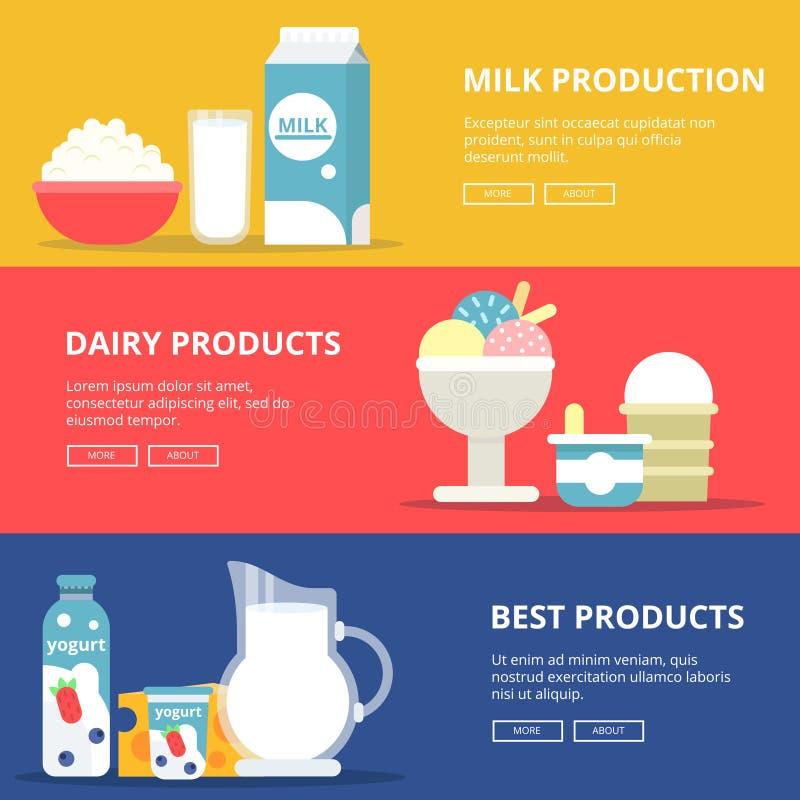 Bandeiras horizontais com imagens de produtos de leite da leiteria Molde com lugar para seu texto ilustração do vetor