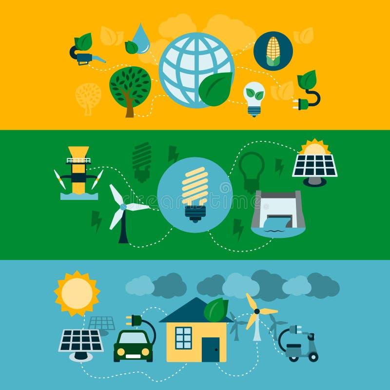 Bandeiras horizontais da energia de Eco ajustadas ilustração royalty free