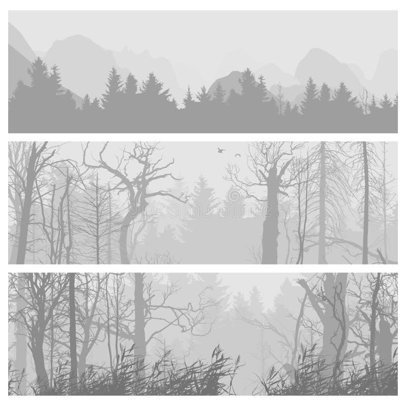 Bandeiras horizontais da floresta selvagem ilustração royalty free