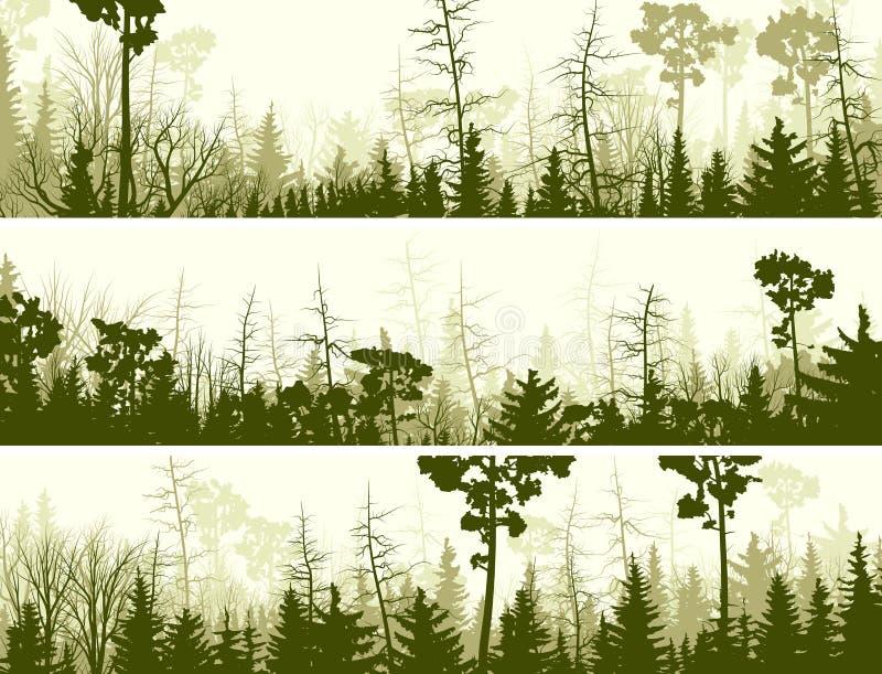 Bandeiras horizontais da madeira conífera. ilustração royalty free