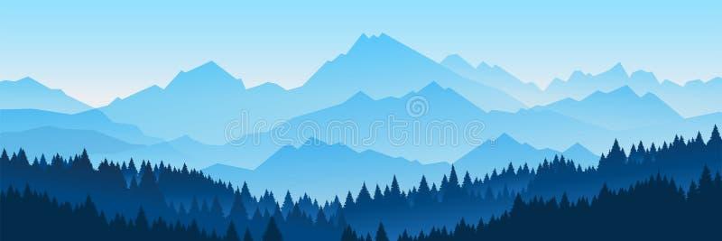 Bandeiras horizontais da madeira con?fera dos montes ilustração royalty free