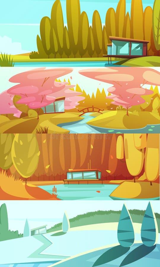 Bandeiras horizontais das paisagens das estações da natureza ajustadas ilustração do vetor
