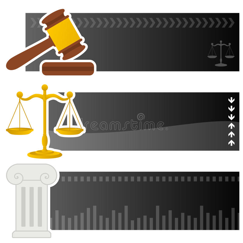 Bandeiras horizontais de justiça & da lei ilustração do vetor