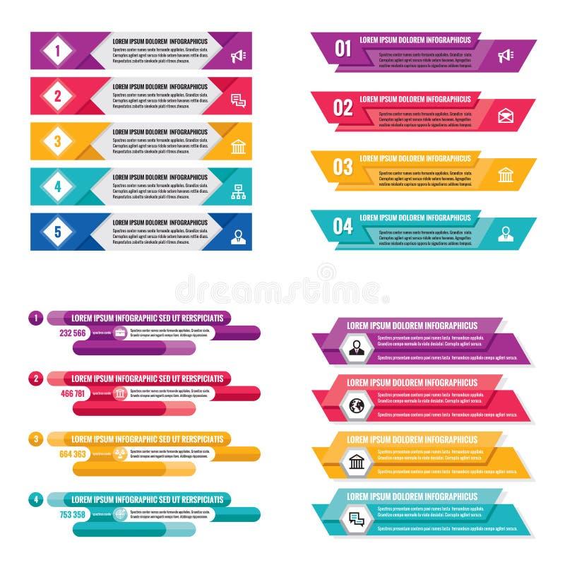 Bandeiras horizontais do conceito do negócio do molde dos elementos de Infographic para a apresentação, o folheto, o Web site e o ilustração do vetor
