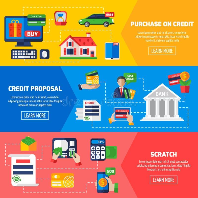 Bandeiras horizontais do débito de empréstimo ilustração stock