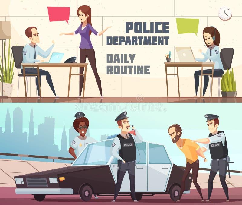 Bandeiras horizontais do departamento da polícia ilustração do vetor