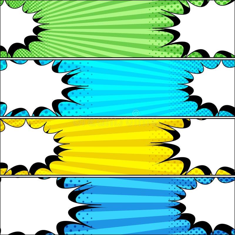 Bandeiras horizontais do duelo cômico ilustração stock