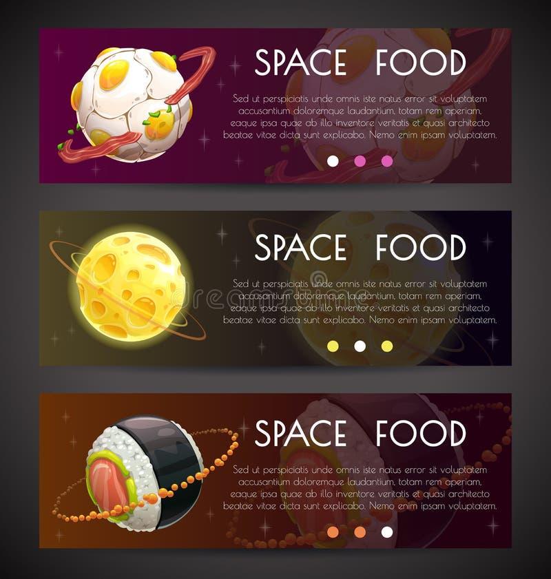 Bandeiras horizontais do espaço Insetos comerciais com os planetas do alimento da fantasia ilustração do vetor