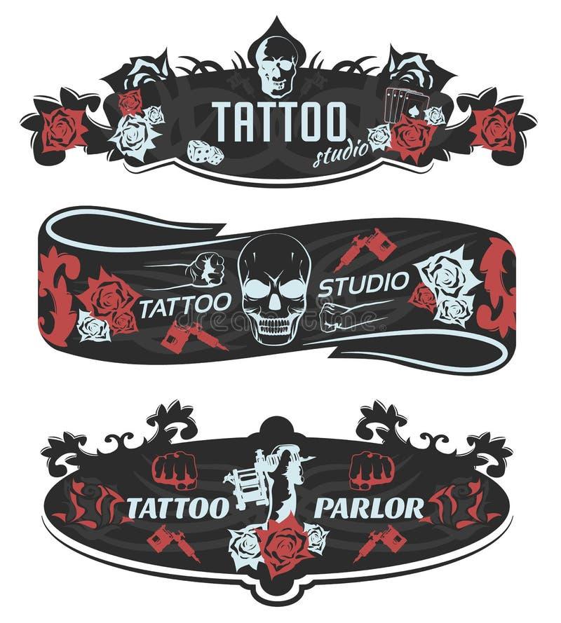 Bandeiras horizontais do estúdio da tatuagem ilustração stock