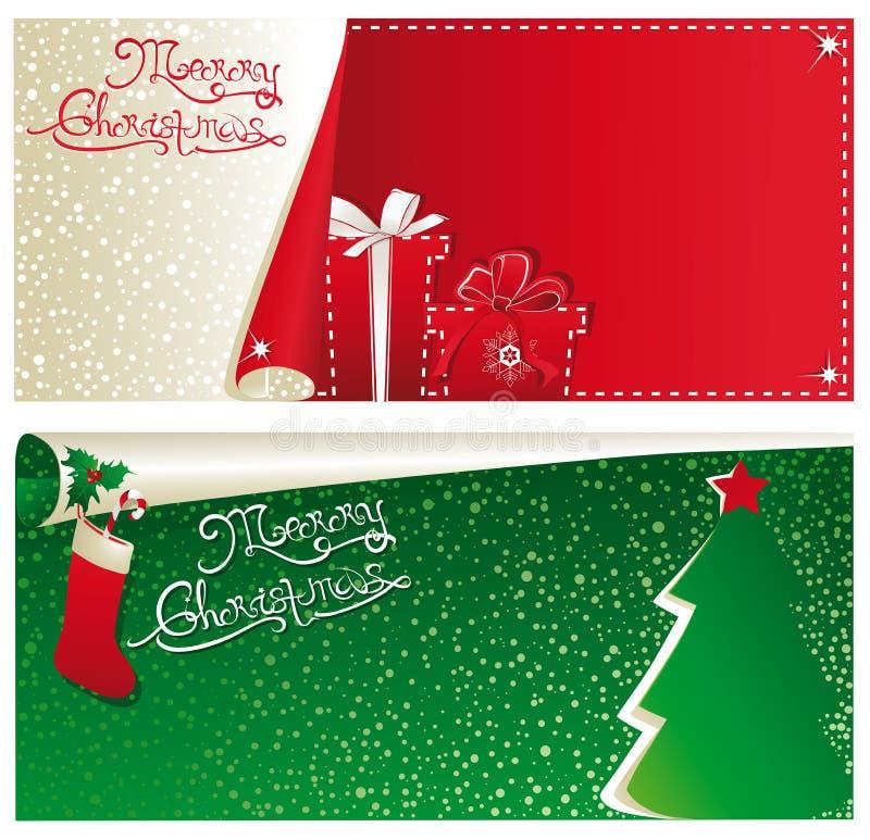 Bandeiras horizontais do Natal imagens de stock royalty free