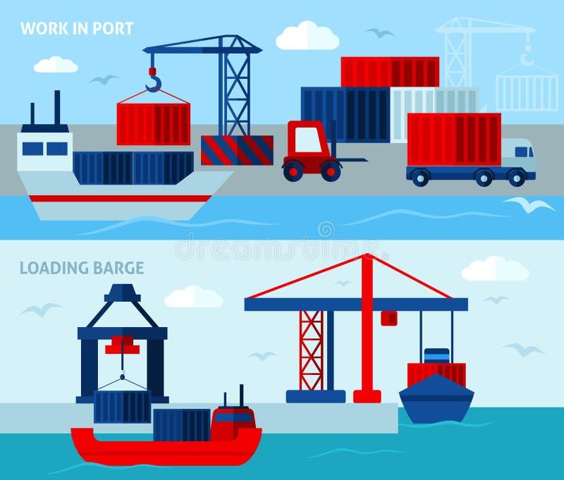 Bandeiras horizontais do porto liso da cor ilustração stock