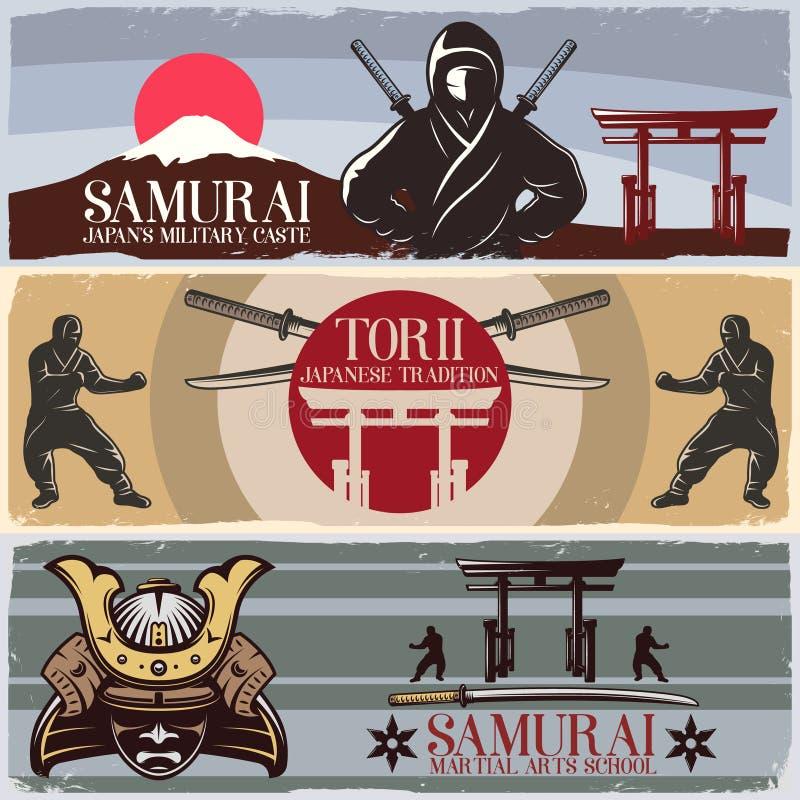 Bandeiras horizontais do samurai ajustadas ilustração stock